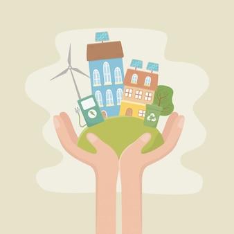 Eko miasto i oszczędzaj projekt planety
