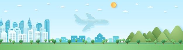 Eko miasto, pejzaż, krajobraz, budynek, wioska i góra z błękitnym niebem i słońcem, samolot lecący do miejsca przeznaczenia, transport, styl sztuki papieru