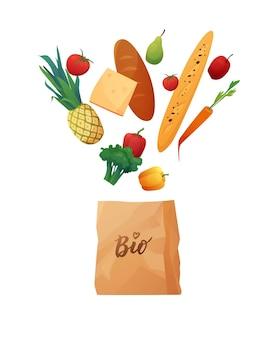 Eko papierowa torba na zakupy z jedzeniem.