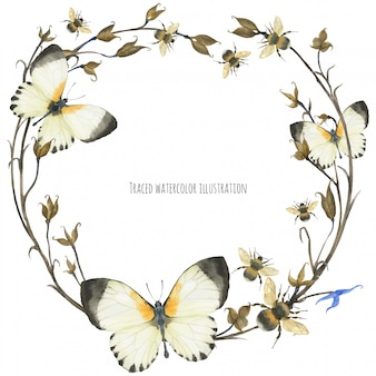 Eko-projekt wieniec z motyli i roślin