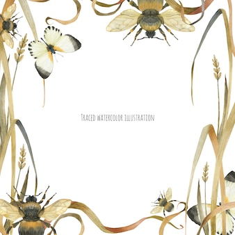 Eko-rama z buttetrflies i bumblebee