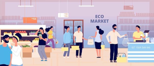 Eko sklep spożywczy. osoby posiadające własne torby tekstylne kupują warzywa owoce produkty ekologiczne