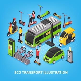 Eko transport izometryczny z autobusami elektrycznymi samochody miejskie parkingi rowerowe ludzie jadący żyroskop i skuter