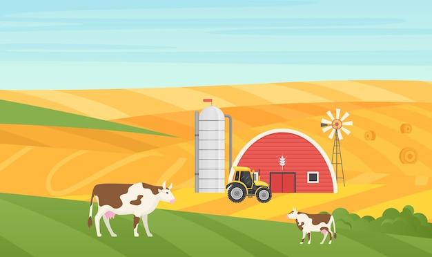 Eko wieś wieś wiejski krajobraz krowa pasąca się na łące dom stodoła gospodarstwo traktor