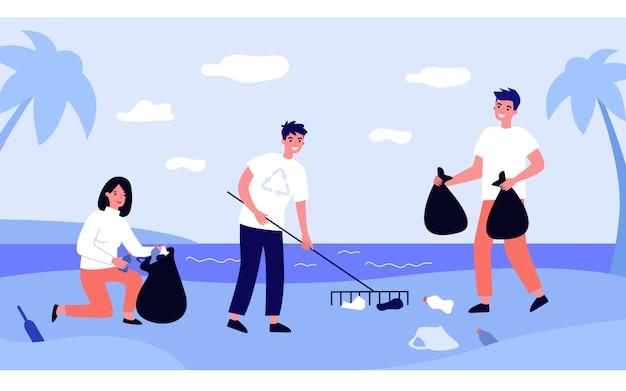 Eko wolontariusze zbierają śmieci na zewnątrz