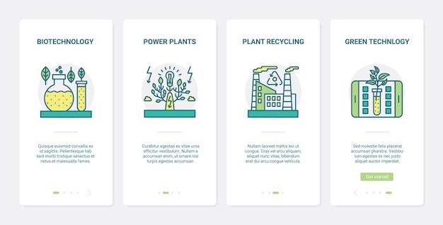 Eko zielona technologia produkcji bioenergii ux, zestaw ekranów strony aplikacji mobilnej ui onboarding