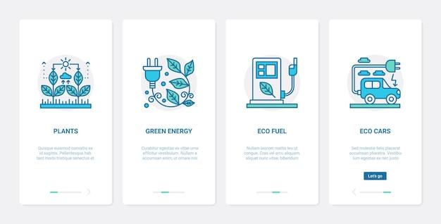 Eko zielone rośliny energia, naturalna technologia zestaw ekranów strony aplikacji mobilnej ux onboarding