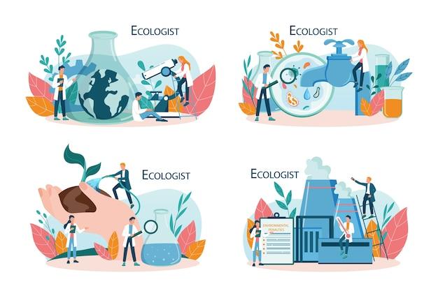 Ekolog dbający o koncepcję ziemi i przyrody. zestaw naukowca dbającego o ekologię i środowisko. ochrona powietrza, gleby i wody. zawodowy działacz ekologiczny.