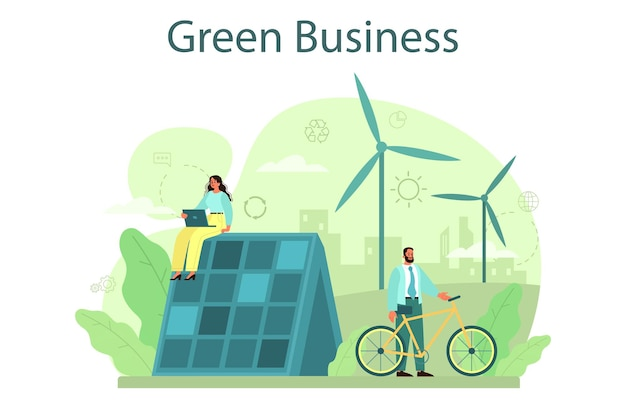Ekologia czy biznes przyjazny środowisku. biznesmeni dbający o przyrodę i chroniąca środowisko. ekologiczna energia i produkcja wolna od zanieczyszczeń.