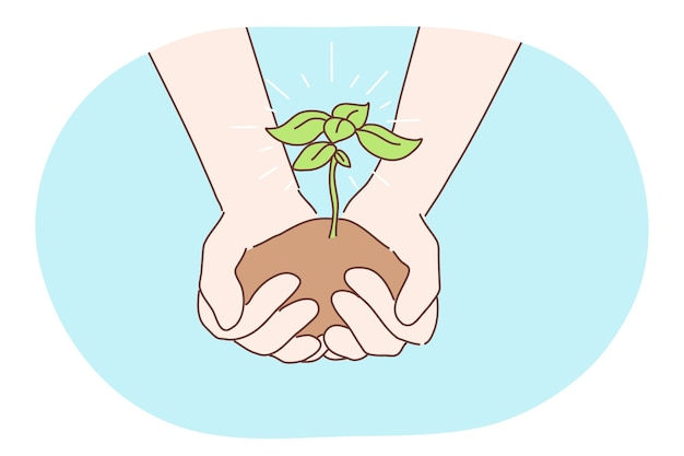 Ekologia, dobroczynność, środowisko, koncepcja dnia ziemi. ludzki charakter ręce trzymając rosnącą roślinę