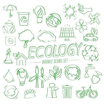 Ekologia doodle ikony