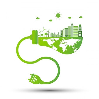 Ekologia i koncepcja ochrony środowiska, symbol ziemi z zielonymi liśćmi wokół miast pomóż światu z ekologicznymi pomysłami, ilustracji wektorowych