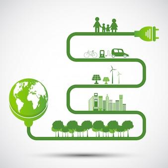 Ekologia i koncepcja ochrony środowiska, symbol ziemi z zielonymi liśćmi wokół miast pomóż światu z ekologicznymi pomysłami