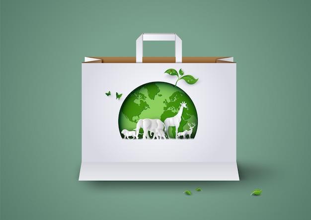 Ekologia i środowisko na papierowej torbie na zakupy