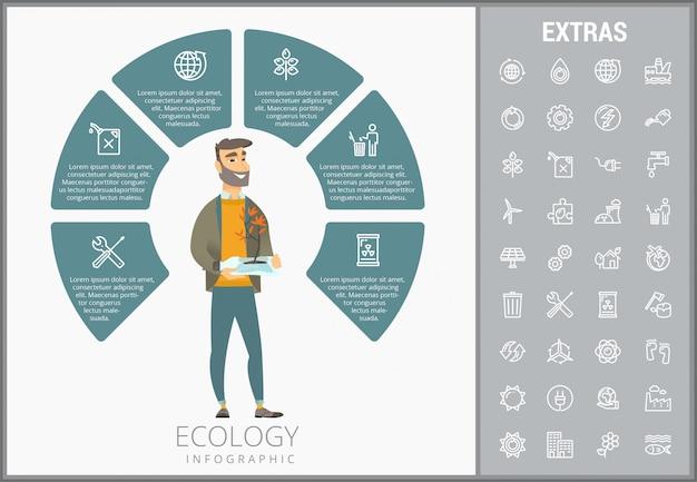 Ekologia Infographic Szablon, Elementy I Ikony Premium Wektorów