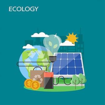 Ekologia koncepcja płaski styl projektowania ilustracji