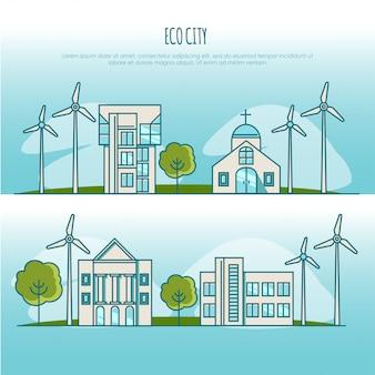 Ekologia Miejskich Krajobrazów. Energia Alternatywna. Koncepcja Ilustracji Premium Wektorów