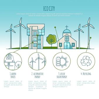 Ekologia miejskie krajobrazy, miejskie domy. energia alternatywna. ilustracja plansza
