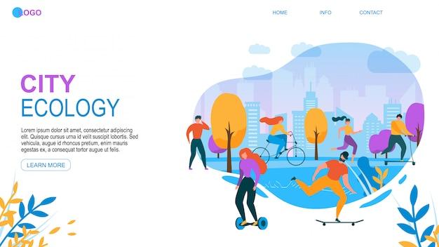 Ekologia nowoczesnego miasta. ludzie cartoon z eco friendly