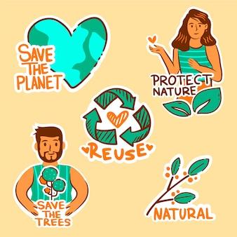 Ekologia odznaki rysunek koncepcji