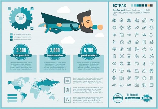 Ekologia płaska konstrukcja infographic szablon i ikony ustaw
