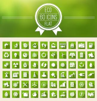 Ekologia płaski zestaw ikon