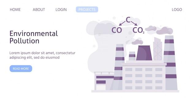 Ekologia zanieczyszczony przemysłowy miasto z chemiczną formułą zanieczyszczenia powietrza sieci szablonu płaska ilustracja.