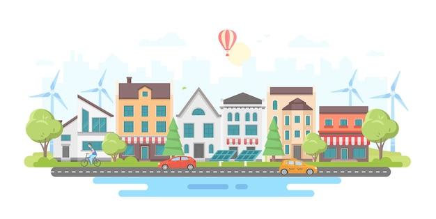 Ekologiczna dzielnica miasta - nowoczesny projekt płaski styl wektor ilustracja na białym tle. kompozycja z małymi budynkami, drzewami, stawem, kawiarniami, panelami słonecznymi, kawiarniami, wiatrakami, balonem, samochodami