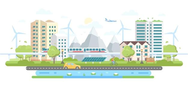 Ekologiczna dzielnica miasta - nowoczesny projekt płaski styl wektor ilustracja na białym tle. kompozycja z wieżowcami, górami, wiatrakami, panelami słonecznymi, samochodem, stawem, pociągiem, ludźmi, samolotem