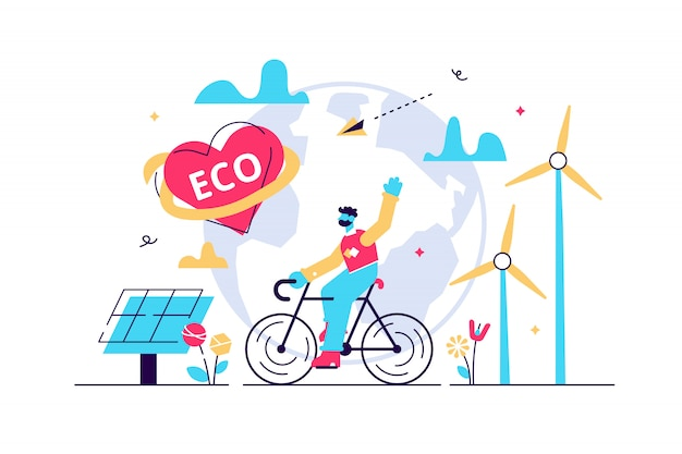 Ekologiczna ilustracja. koncepcja płaskie maleńkie czyste środowisko osoby. zrównoważona bio żywność, energia lub transport, aby ocalić planetę lub zmniejszyć globalne ocieplenie. naturalny styl życia ochrony zdrowia