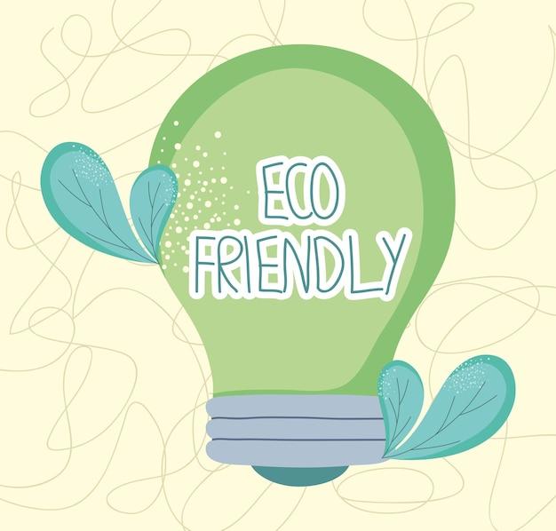 Ekologiczna ilustracja żarówki z liśćmi