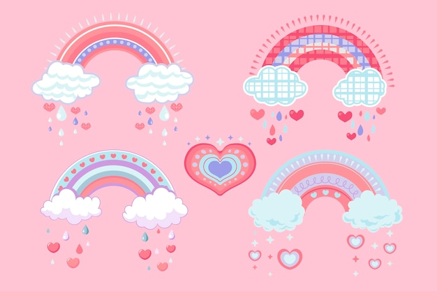 Ekologiczna, płaska, ładna kolekcja elementów dekoracji chuva de amor