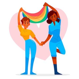 Ekologiczna płaska para lesbijek z flagą lgbt