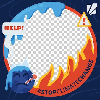 Ekologiczna płaska ramka awatara na facebooku ze zmianami klimatycznymi