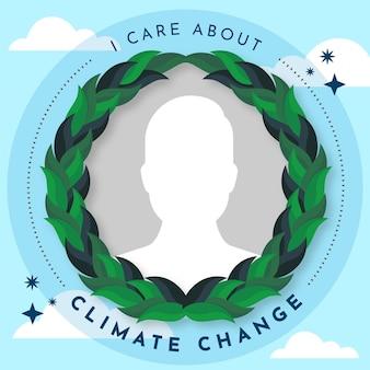 Ekologiczna płaska ramka na facebooku dotycząca zmiany klimatu