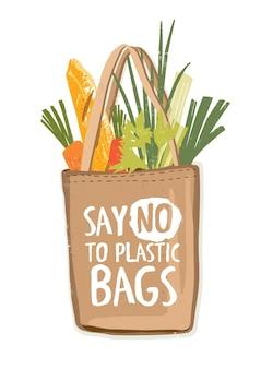 Ekologiczna, tekstylna torba na zakupy wielokrotnego użytku, pełna warzyw i innych produktów, z napisem say no to plastic bags