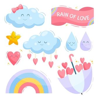 Ekologiczne elementy dekoracyjne płaskie chuva de amor
