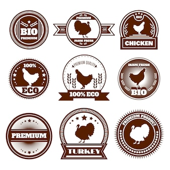Ekologiczne emblematy indyków z indyka kurczaka