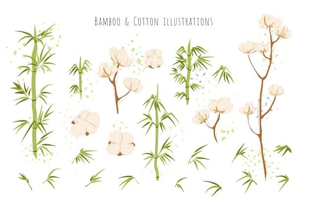 Ekologiczne i przyjazne środowisku tekstylne źródła - bawełniane bukiety i kwiaty, bambusowe łodygi z kompozycjami liści na białym tle. zestaw bambusowo-bawełniany