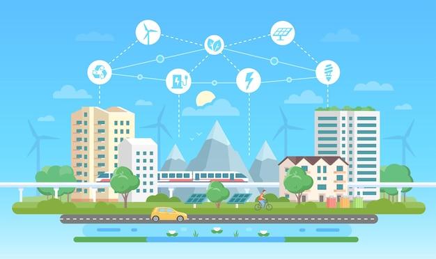 Ekologiczne miasto - nowoczesny projekt płaski styl wektor ilustracja na niebieskim tle z zestawem ikon. krajobraz z drapaczami chmur, górami, samochodem, drogą, stawem. recykling, koncepcja oszczędzania energii