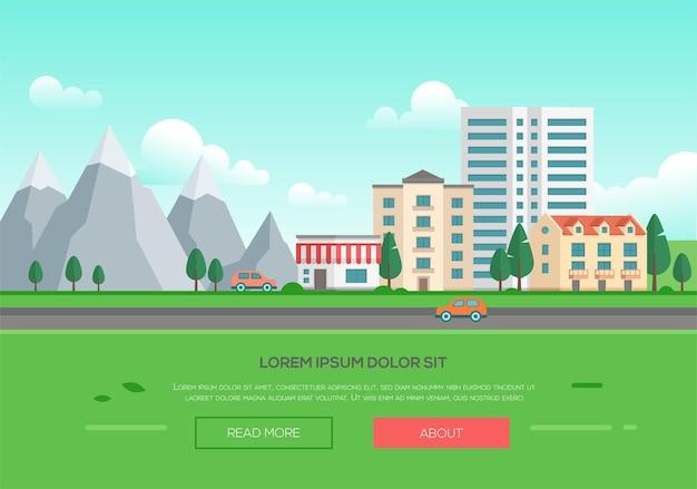 Ekologiczne miasto przez góry - nowoczesne ilustracji wektorowych z miejscem na tekst. pejzaż miejski ze wzgórzami, parkiem, drogą, samochodami, domami, wieżowcem, błękitnym niebem z chmurami