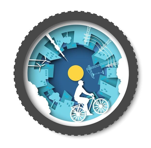 Ekologiczne miasto z budynkami, wiatrakami i młodym mężczyzną jeżdżącym na rowerze, wektor, wycięty z papieru ilustr...