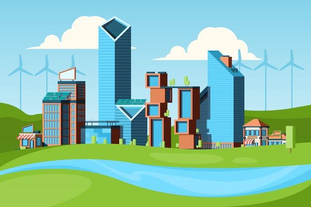 Ekologiczne miasto. zielona koncepcja z krajobrazem miejskim ratuje czystość przyrody w tle miasta eco