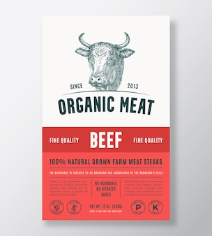 Ekologiczne mięso streszczenie wektor projekt opakowania lub szablon etykiety steki wołowe uprawiane w gospodarstwie rolnym baner nowoczesny...