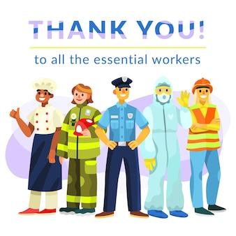 Ekologiczne mieszkanie dziękuję niezbędnym pracownikom ilustracji