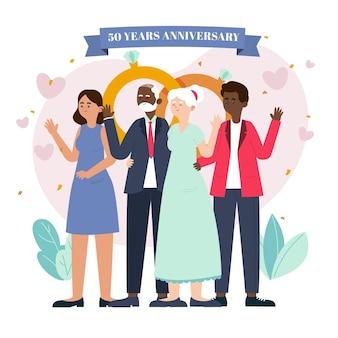Ekologiczne mieszkanie ludzie świętują złotą rocznicę ślubu