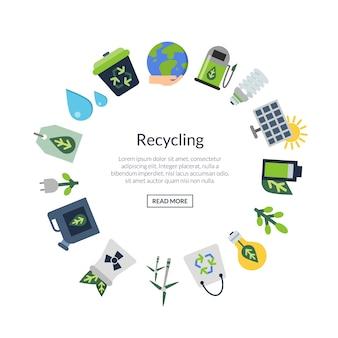 Ekologiczne płaskie ikony w formie koła z miejscem na tekst w centrum