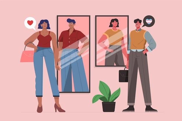 Ekologiczne płaskie osoby transpłciowe