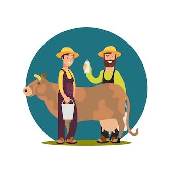 Ekologiczne produkty mleczne z gospodarstw rolnych. postać z kreskówki szczęśliwi rolnicy z krowa projektem
