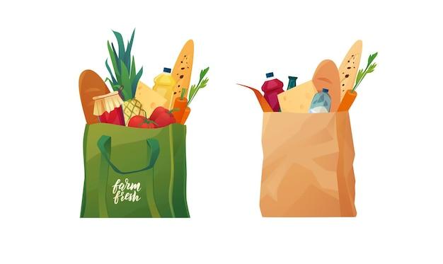 Ekologiczne torby na zakupy nadające się do recyklingu z jedzeniem